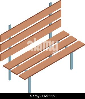 Wooden park chair - Stock Photo