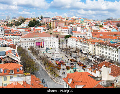 View over Praca Dom Pedro IV ( Rossio ) from the Santa Justa lift, Baixa district, Lisbon, Portugal - Stock Photo