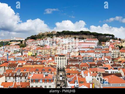 View of the historic Castelo de Sao Jorge from the Santa Justa lift, Rossio, Lisbon, Portugal - Stock Photo