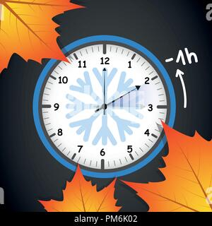 switch to winter time concept for daylight saving with autumn leaves on black background vector illustration EPS10 - Stock Photo