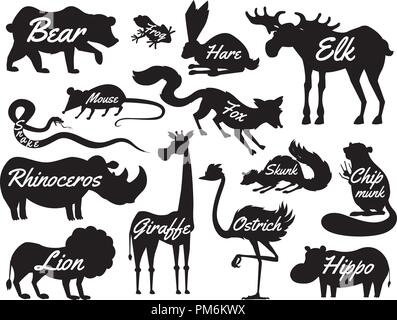 Animals for baby. Silhouettes isolated. Wild giraffe moose camel and deer, rhinoceros. hare, wolf and bear with lion and tiger. vintage world. Cartoon vector. - Stock Photo