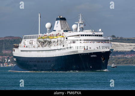 MV Astoria departing Portsmouth England UK. Came into service in 1946 and is the second oldest cruise ship in service. - Stock Photo