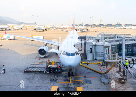 Hong Kong, June 02, 2018: Cathay Dragon Plane At Hong Kong International Airport - Stock Photo