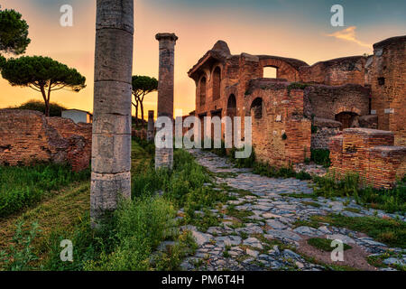 Roman empire sunset street view in archeological excavations of Ancient Ostia - Rome