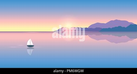lonely sailboat on a calm sea at sunrise vector illustration EPS10 - Stock Photo