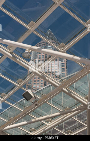 the trade fair tower, messeturm and hall. - Stock Photo