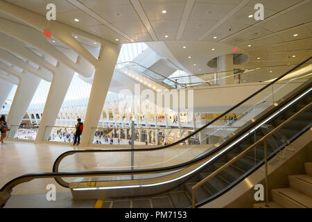 Interior view of the Oculus aka Westfield World Trade Center Mall.Manhattan.New York City.USA - Stock Photo
