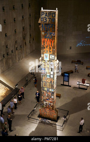 The last steel column removed from Ground Zero display in National September 11 Memorial & Museum.New York City,USA - Stock Photo