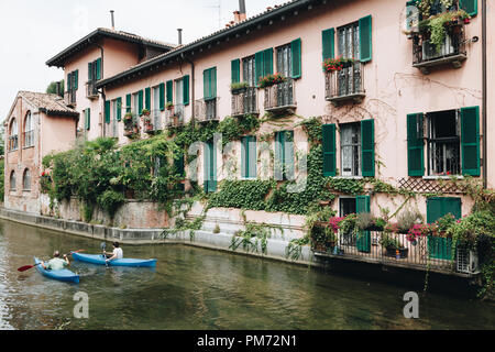 kayaking along the martesana canal in Milan - Italy - Lombardy - Stock Photo