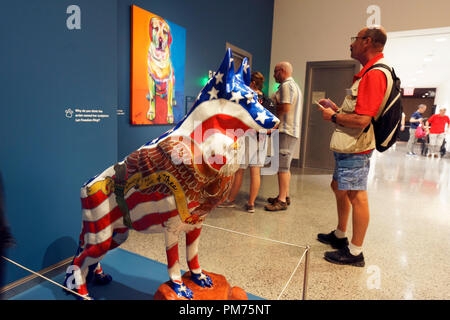 Let Freedom Ring DOGNY search and rescue dog sculpture display in National 9/11 Memorial & Museum.New York City.USA - Stock Photo