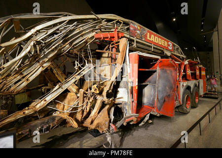 Crushed FDNY fire truck, ladder 3,National September 11 Memorial & Museum. New York City,USA - Stock Photo