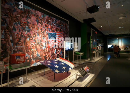 Hood of US flag car from first NASCAR race after 9/11.National 9/11 Memorial & Museum.New York City.USA - Stock Photo