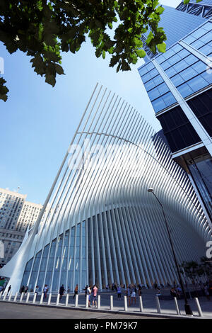 Exterior view of The Oculus, the world trade center transportation hub and Westfield World Trade Center Mall in downtown Manhattan.New York City.USA - Stock Photo