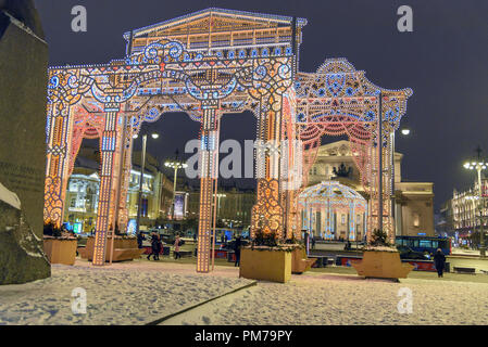 Moscow, Russia - January 29, 2018: Colorful arches, installations. Christmas and New Year decoration on Theatre Square - Stock Photo