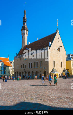 Tallinn Old Town Hall, view in summer of the Town Hall and main square in the medieval Old Town quarter in Tallinn, Estonia. - Stock Photo