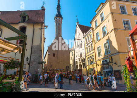 Tallinn Old Town, view in summer of Tallinn Town Hall Tower sited at the end of Vanaturu kael in the city center Old Town quarter, Estonia - Stock Photo