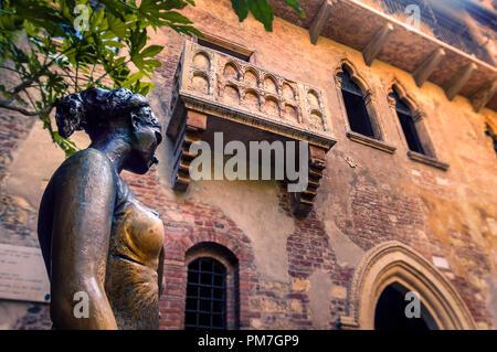 Juliet's Balcony in Verona, Italy - Stock Photo