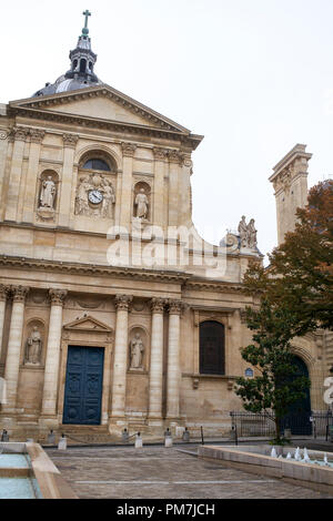 Sorbonne Chapel facade in Paris France. - Stock Photo