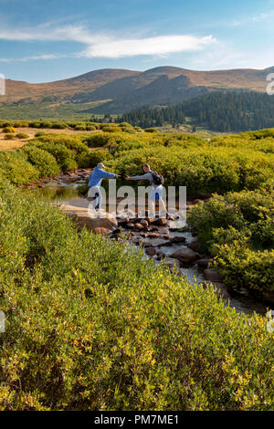 Georgetown, Colorado - An older woman gets help from a younger man in crossing a stream on the trail from Guanella Pass to 14,060-foot Mt. Bierstadt i - Stock Photo