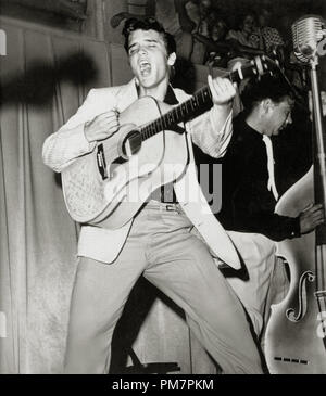 Publicity photo of Elvis Presley at a concert in Fort Homer Hesterly Armory in Tampa, Florida, July 31,1955. File Reference # 31386 0382THA - Stock Photo