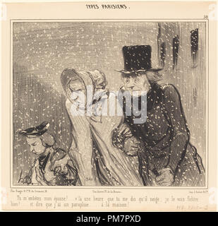 Tu m'embêtes, mon épouse!... v'la une heure... Dated: 1843. Medium: lithograph. Museum: National Gallery of Art, Washington DC. Author: HONORÉ DAUMIER. - Stock Photo