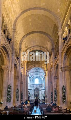 Interior of Lisbon Cathedral (Sé de Lisboa), Lisbon, Portugal - Stock Photo
