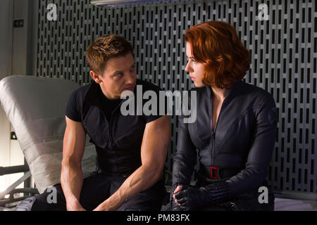 """Marvel's The Avengers"" Jeremy Renner as Hawkeye and Scarlett Johansson as Black Widow in ""Marvel's The Avengers,"" opening in theaters on May 4, 2012.  The Joss Whedon–directed action-adventure is presented by Marvel Studios in association with Paramount Pictures and also stars Robert Downey Jr., Chris Evans, Mark Ruffalo, Chris Hemsworth and Samuel L. Jackson. Ph: Zade Rosenthal - Stock Photo"