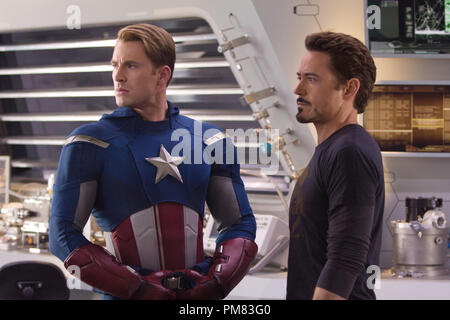 Marvel's The Avengers (L to R) CAPTAIN AMERICA (Chris Evans) and TONY STARK (Robert Downey Jr.) - Stock Photo