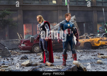 """""""Marvel's The Avengers""""  Thor (Chris Hemsworth) and Captain America (Chris Evans) join forces in """"Marvel's The Avengers,"""" opening in theaters on May 4, 2012.  The Joss Whedon–directed action-adventure is presented by Marvel Studios in association with Paramount Pictures and also stars Robert Downey Jr., Mark Ruffalo, Scarlett Johansson, Jeremy Renner and Samuel L. Jackson. - Stock Photo"""