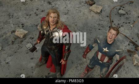 Marvel's The Avengers THOR (Chris Hemsworth) and CAPTAIN AMERICA (Chris Evans). Ph: Zade Rosenthal - Stock Photo