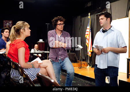 L-r, Brie Larson, Directors Phil Lord,  and Chris Miller on the set of Columbia Pictures' '21 Jump Street.' - Stock Photo