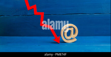 Red arrow down and a symbol of e-mail. Contact and email address concatenation. The fall of the popularity of using mail, the threat of hacking. Spam  - Stock Photo