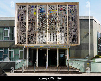 Facade of the Plymouth Crown and County Court building in central Plymouth, Devon, UK - Stock Photo