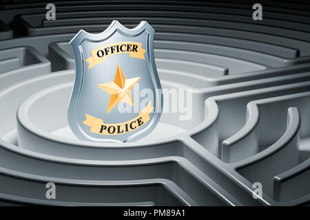 Police badge inside labyrinth maze. 3D rendering - Stock Photo