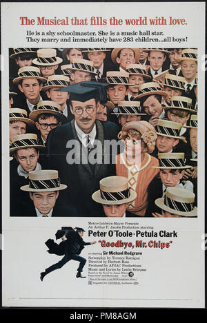 Studio Publicity: 'Goodbye, Mr. Chips' 1969 MGM  Poster  Peter O'Toole, Petula Clark   File Reference # 31780 751 - Stock Photo