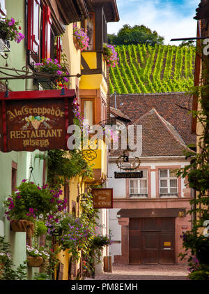 Town of Riquewihr along the Route des Vins (Wine Route), Alsace, France - Stock Photo