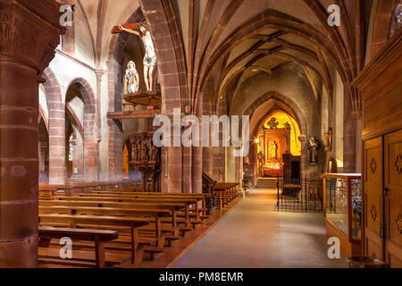 Interior of Eglise Sainte-Croix Kaysersberg, Kaysersberg-Vignoble, Alsace, France - Stock Photo