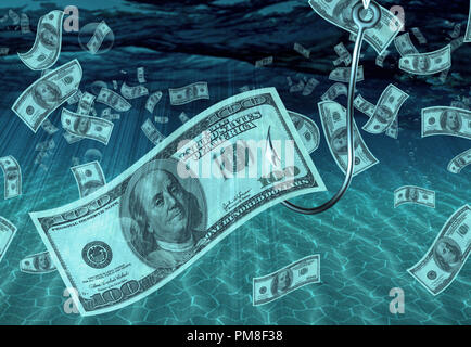 One Hundred Dollar Bill on Fish Hook - Stock Photo