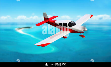 Airplane in the sky. Concept of summer holidays - Stock Photo