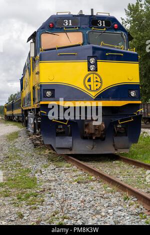 Train car for the Alaska Railroad, a tourist train service in the Alaskan interior - Stock Photo