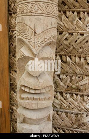 traditional tongan wood carving tiki sculpture stock photo