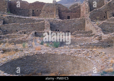 Anasazi kiva ruins at Pueblo del Arroyo, Chaco Canyon, New Mexico. Photograph - Stock Photo
