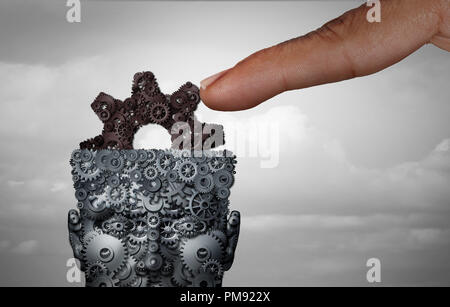 Psychological manipulation and psychology influence mental health and psychiatry social manipulator concept with a finger controlling the mind. - Stock Photo