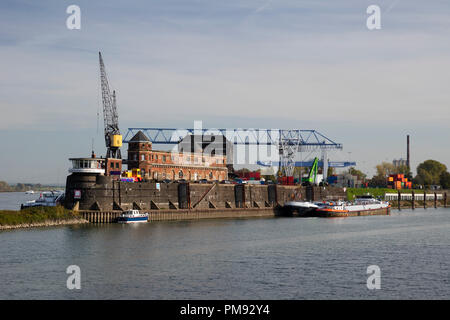 Industrial harbor, Krefeld, Niederrhein, North Rhine-Westphalia, Germany, Europe - Stock Photo