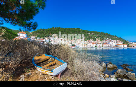 View of the picturesque coastal town of Gythio, Peloponnese, Greece. - Stock Photo