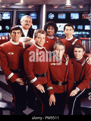 Studio Publicity Still from 'Star Trek IV: The Voyage Home' Leonard Nimoy, James Doohan, William Shatner, Nichelle Nichols, DeForest Kelley, George Takei, Walter Koenig © 1986 Paramount  All Rights Reserved   File Reference # 31700085THA  For Editorial Use Only - Stock Photo
