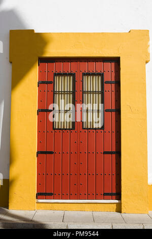 Doorway, Plaza de toros de la Real Maestranza de Caballería de Sevilla‎, Andalusia, Spain - Stock Photo