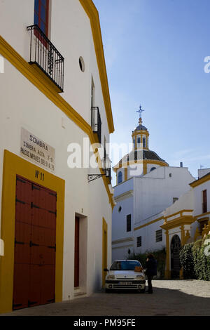 Lane outside the Plaza de toros de la Real Maestranza de Caballería de Sevilla, Andalusia, Spain - Stock Photo