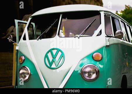 Retro VW Camper Van used for weddings - Stock Photo