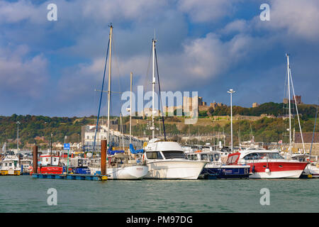 View of Dover Castle from Marina, Kent, UK - Stock Photo